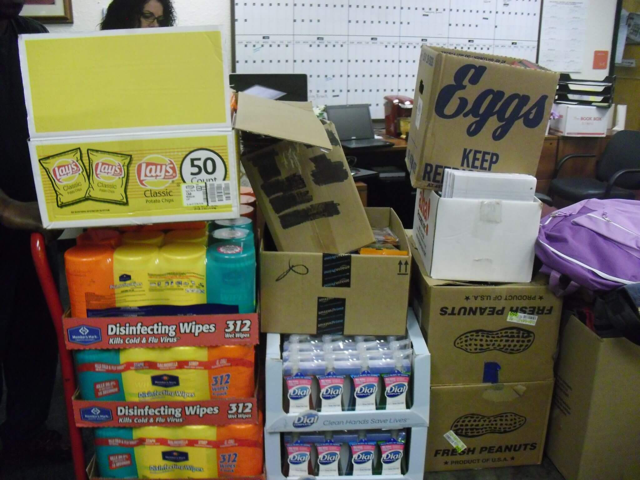 Missions at Pine Forest United Methodist Church collect boxes of donations