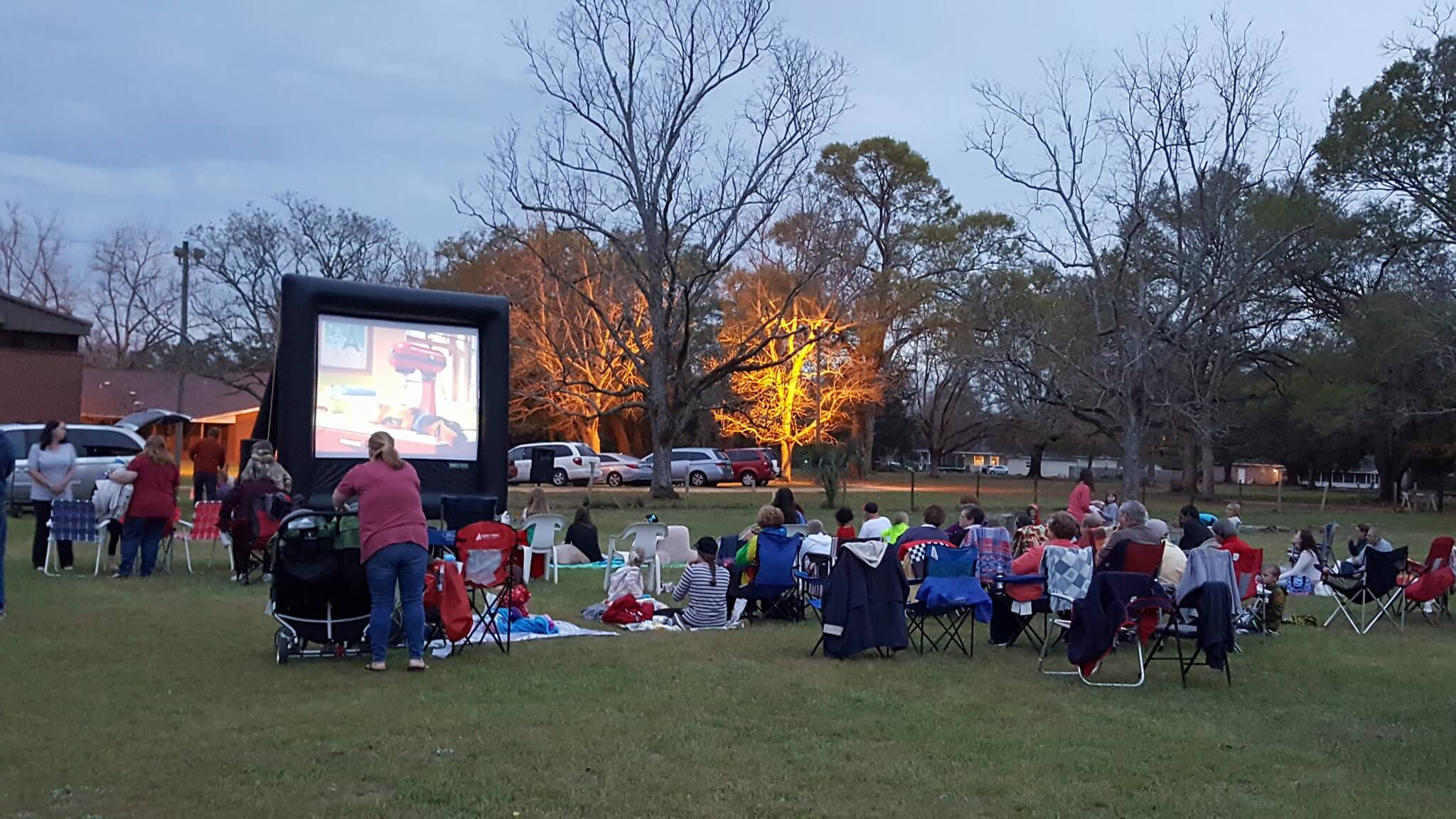 Outdoor Movie night Missions at Pine Forest United Methodist Church