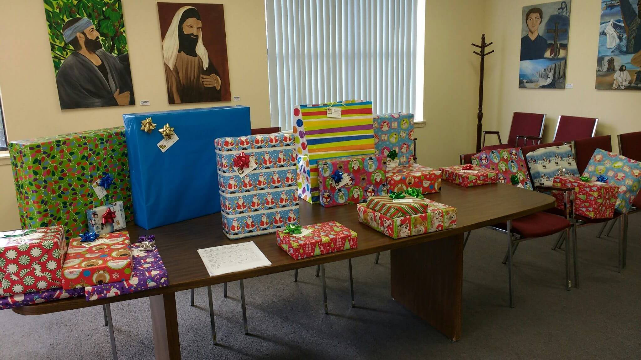 Wrapped presents collected for our Missions at Pine Forest United Methodist Church