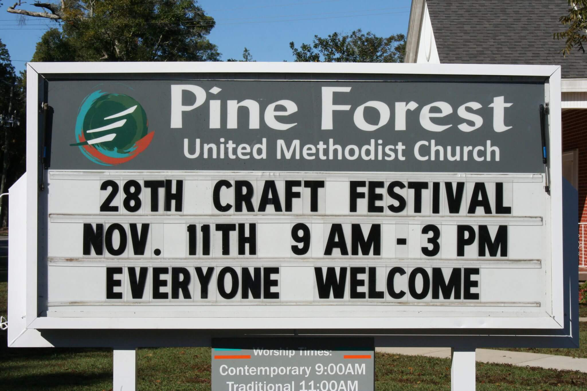 Marquee for the Pine Forest United Methodist Church Arts & Crafts Festival & Car Show